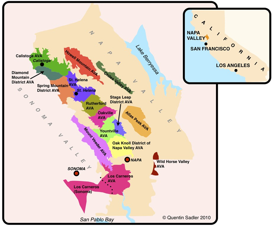 Ward On Wine Spring Wine Class Series The Diversity Of Napa Valley - Us wine regions map